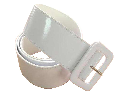 wide patent leather cinch belt for fashion casual