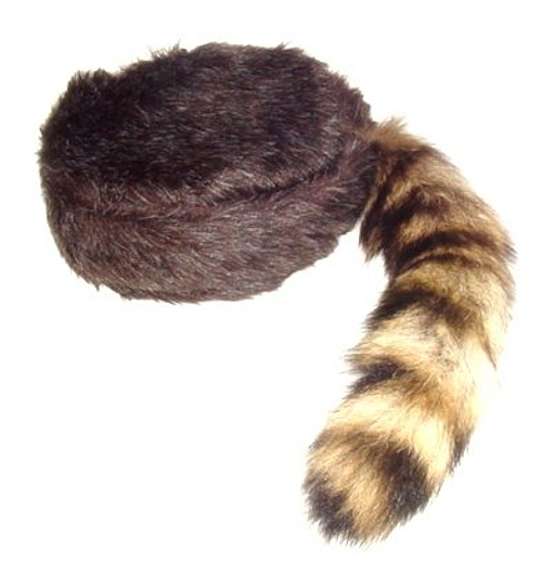 Coonskin Hat: Davey Crockett Coonskin Cap Real Fur Tail Raccoon Brown
