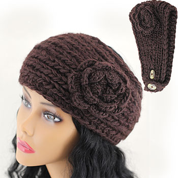 Knit Pattern Headband With Button Closure : CROCHET HEADBAND FLOWER BUTTON CLOSURE   Only New Crochet ...