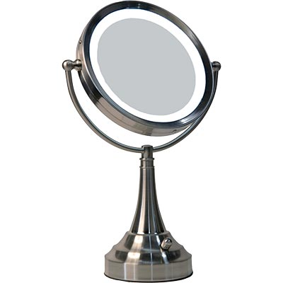 led lighted vanity mirror travel mirror 10x round ebay. Black Bedroom Furniture Sets. Home Design Ideas