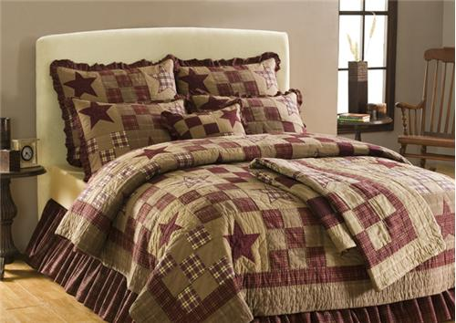 Star Patch Queen Size Quilt Country 4 PC Set Shams